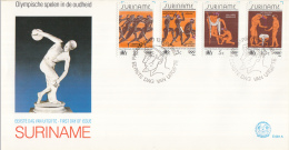 Republiek Suriname - FDC081A/B/C - Olympische Zomerspelen Los Angeles - Olympische Spelen In De Oudheid  - Z 399-410 - Zomer 1984: Los Angeles