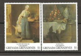 GRENADA/GRENADINES - CHARDIN La Fornitrice, Il Bouffet  2v.  Nuovo** MNH - Arts