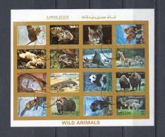 AJMAN 1973 Mi # 2845 - 2860 IMPERF WILD ANIMALS CTO USED - Ajman
