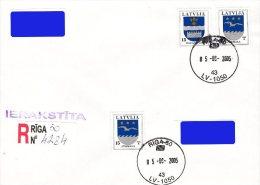 Latvia Lettland Lettonie 2005 (Reprint-1) Coat Of Arms - Daugavpils, Jurmala (addressed FDC) - Latvia