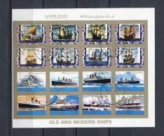 AJMAN 1973 Mi # 2877 - 2892 IMPERF OLD And MODERN SHIPS CTO USED - Ajman