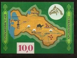 Turkménistan 1992 N° BF 1 ** Culture, Carte, Cheval, Dromadaire, Fleur, Coton, Pétrole, Gaz, Energie, Essence - Turkménistan