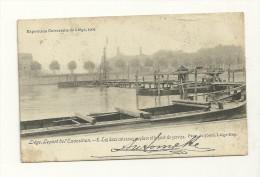 Exposition Universelle Liège 1905 : Les Deux Caissons En Place Et Le Pont De Service - Expositions