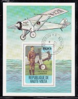 Upper Volta/Burkina Faso Used Scott #467 Souvenir Sheet 500fr Charles Lindburgh, Spirit Of St. Louis - Aviation History - Haute-Volta (1958-1984)
