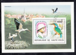 Upper Volta/Burkina Faso Used Scott #C215 Souvenir Sheet 450fr Crested Corythornis - Albert Schweitzer - Haute-Volta (1958-1984)
