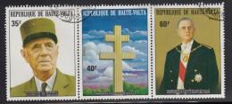 Upper Volta/Burkina Faso Used Scott #327a Strip Of 3 Charles De Gaulle - Haute-Volta (1958-1984)