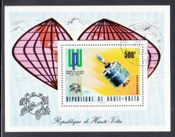 Upper Volta/Burkina Faso Used Scott #C192 Souvenir Sheet 500fr Telstar Satellite - UPU Centenary - Haute-Volta (1958-1984)