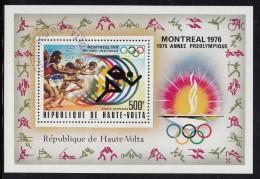 Upper Volta/Burkina Faso Used Scott #C230 Souvenir Sheet 500fr Sprint - 1976 Summer Olympics Montreal - Haute-Volta (1958-1984)