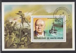 Upper Volta/Burkina Faso Used Scott #351 Souvenir Sheet 450fr Sir Winston Churchill - Haute-Volta (1958-1984)