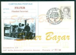 TRENI-MONTESILVANO-140° LINEA ANCONA-PESCARA´-CARTOLI NA-INTERO POSTALE-SOPRASTAMPA PRIVATA-ANNULLO SPECIALE - Stazioni Con Treni
