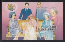 Burkina Faso MNH Scott #707 Souvenir Sheet 1000fr Christening Of Prince William - Queen Mother´s 85th - Burkina Faso (1984-...)