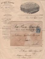 Au Bon Marche - Lettre Avec Facture Illustree - 1898 - Postmark Collection (Covers)