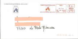 EMA SB 11371 Charly Aisne 02 + Flamme Commune De Montreuil Aux Lions Sur Env De La Mairie - Postmark Collection (Covers)