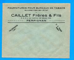 Enveloppe Fournitures Pour Bureaux De Tabac Allumettes De L'Etat Perpignan - Tabac (objets Liés)