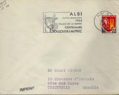 """Flamme De Albi (Tarn) Du 25/7/1964 Sur Timbre Bason Agen (YT 1353A) """" Palais De La Berbie Centenaire Toulouse Lautrec"""" - Postmark Collection (Covers)"""