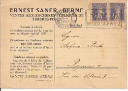 HELVETIA 5+5, ERNEST SANER BERNE,IMPRIME,BERN - ROMA, 1927, - Marcophilie