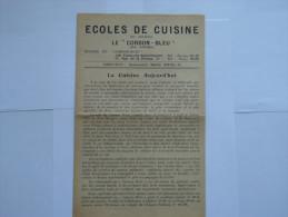 Journal ;Ecoles  De Cuisine :Le CORDON  BLEU 34 ème Année - Menus