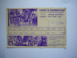 Anciennes Quittantes  D'électricité De 1938  Illustrées - Factures & Documents Commerciaux