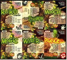 6 Beanie Babies Karten : Magic , Prance , Kuku , Mooch , Wiser , Almond - Plüschtiere