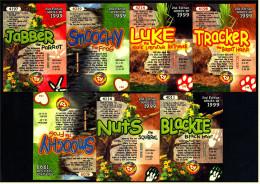 7 Beanie Babies Karten : 2 X Smoochy , Nuts , Blockie , Luke , Jabber , Tiracker - Plüschtiere