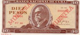 CUBA : 10 Pesos 1986 (unc). Specimen - Cuba