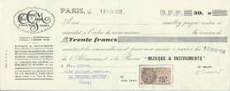 """Mandat / Office Général De La Musique/Abonnement Revue """"Musique Et Instruments""""/Courbe/La Couture/Eure/1930  PART95 - Music & Instruments"""
