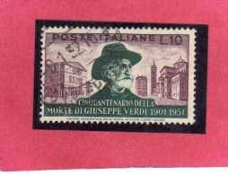 ITALIA REPUBBLICA ITALY REPUBLIC 1951 CINQUANTENARIO MORTE GIUSEPPE VERDI 50TH DEATH ANNIVERSARY LIRE 10 USATO USED - 6. 1946-.. República