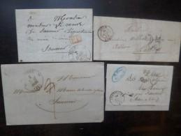 PRE-PHILATELIE ET PHILATELIE. SPLENDIDE LOT DE 91 VIEUX COURRIERS DE 1836 à 1900 ! A VOIR !!! - Stamps
