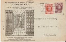 ANVERS (2000) : Carte-correspondance De J. Gevers , Rue De L´ Aumonier, Agence Gérant Les Brevets Pour La Belgique. - Commerce
