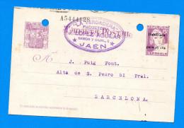Entier Postal Republique Espagnole Jaén - Période Guerre D'Espagne - Cachet De Contrôle De L'UGT - 1931-....
