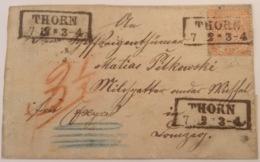 NDP 1869 1/2 Gr.Thorn > Danzig UNTERFRANKIERTE EXPRESS BRIEF 3 1/2 GR NACHPORTO RR! - Norddeutscher Postbezirk (Confederazione Germ. Del Nord)