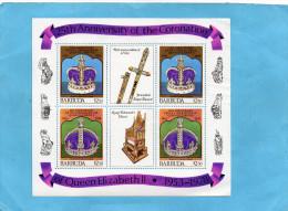 """BARBUIDA-Bloc  """" 25th Anniversary Coronation QUEEN  Elisabeth II"""" - Barbades (1966-...)"""