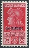 1930 EGEO CASTELROSSO FERRUCCI 5 LIRE MH * - G028 - Castelrosso