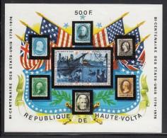Upper Volta/Burkina Faso Used Scott #358 Souvenir Sheet 500fr US Stamps - American Bicentennial - Haute-Volta (1958-1984)