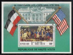 Upper Volta/Burkina Faso Used Souvenir Sheet 500fr Siege Of Yorktown - American Bicentennial - Indépendance USA