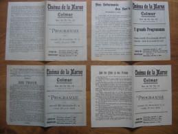 1919 Apres WWI 4 Programmes Cinema Muet COLMAR Et 2 Morceaux De Pellicule Film - Programs