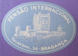 HOTEL PENSAO RESIDENCIA STALAGEM POUSADA INTERNATIONAL MINI BRAGANCA STICKER LUGGAGE LABEL ETIQUETTE AUFKLEBER PORTUGAL - Etiketten Van Hotels