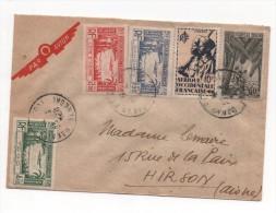 Enveloppe Par Avion Du SENEGAL DE 1950 (avec Timbre Du Dahomey,cote D´ivoire, Afrique Occidentale Et Togo) - Aviones