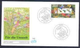 Germany Deutschland 1996 FDC Cover Fauna Nature Protection Schützt Tropischen Lebensräume Parrot Butterfly Tiger Frog - Big Cats (cats Of Prey)