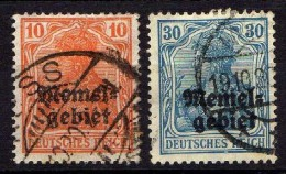 Memel 1920 Mi 14-15, Gestempelt [261214XI] - Memelgebiet