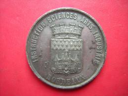 MEDAILLE  BORDEAUX  EXPOSITION DE 1865  INSTRUCTION SCIENCES ARTS  INDUSTRIE SIGNEE MASSONNET ED  SOCIETE PHILOMATHIQUE - Tourist