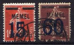 Memel 1921 Mi 34-35, Gestempelt [261214XI] - Memelgebiet