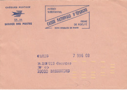 Enveloppe Des Chèques Postaux, Barres D'indexation Jaune + 25 Frappé à Sec - Marcophilie (Lettres)