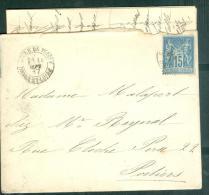 Lac Affranchie / N°90 Oblitéré Pcad Gare De Tours En Sept 1887  - Mala3102 - 1877-1920: Semi-moderne Periode