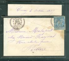 Lac Affranchie / N°90  Oblitéré Cad Type 84 -  Civray En Oct 1887 - Mala3104 - Postmark Collection (Covers)