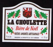 Jolie étiquette Bière La Choulette, Bière De Noêl, Hordain (Nord) - Bière