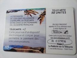 RARE : DOUBLE NUMEROTATION SUR LA COUPOLE ACADEMIE 50U USED CARD - Frankrijk