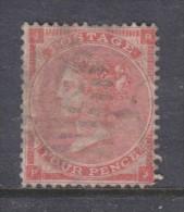Great Britain, Queen Victoria, 1857, 4d Rose-carmine, Wmk Large Garter, Used - 1840-1901 (Victoria)
