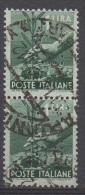 1945 - 1948 (550) Serie Democratica Lire 1 Perfin C.I. Usato In Coppia Verticale (leggi Messaggio Del Venditore) - 6. 1946-.. República