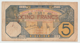 FRENCH WEST AFRICA 5 FRANCS 1932 G-VG PICK 5Bf  5B F - Altri – Africa